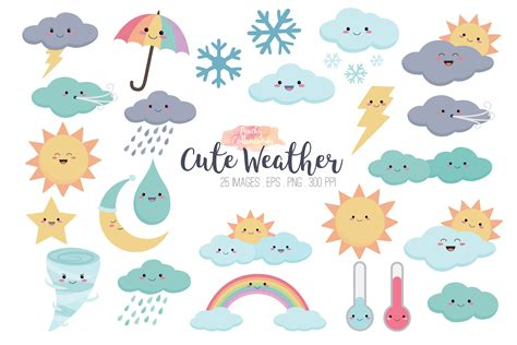 clipart illustrations kawaii weather clipart illustrations creative market