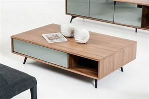 Modern Walnut and Mirrored Glass Coffee Table Philadelphia