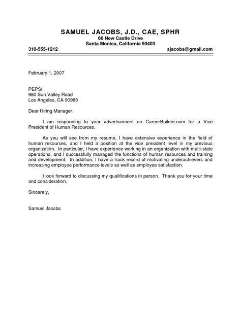 Cover Letter To The Hiring Manager by Sle Cover Letter To Hiring Manager Guamreview