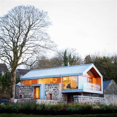 stone  glass barn contemporary style   traditional