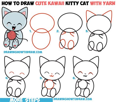draw cute kawaii kitten cat playing  yarn