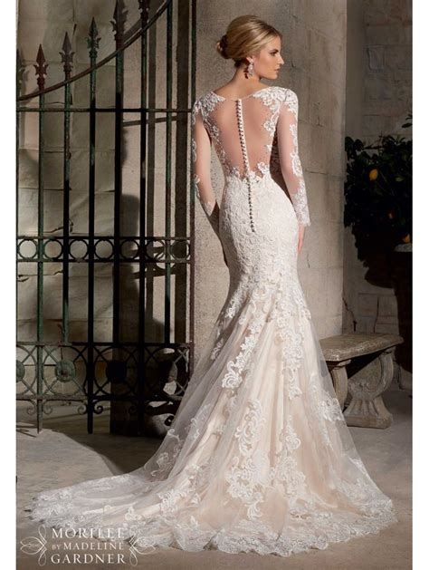 mori lee  long sleeved lace wedding gown ivory