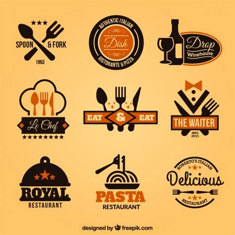 logo cuisine collection of restaurant badges vector free