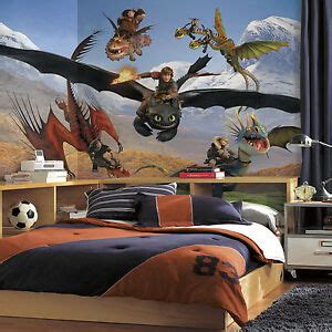 xl   train  dragon prepasted wallpaper mural boys room wall decor ebay