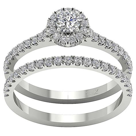 halo engagement bridal ring band set 1 01 ct real diamond