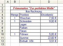 Mehrwertsteuer In Excel Berechnen : excel bung friseurrechnung online im s l z ~ Themetempest.com Abrechnung
