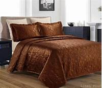 king size coverlets 3 Piece Silky Satin Brown Quilted Bedspread Coverlet Set King Size | eBay