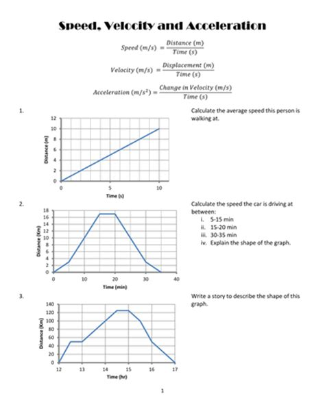 Speed, Velocity And Acceleration Graph Practise By Porcella  Teaching Resources Tes