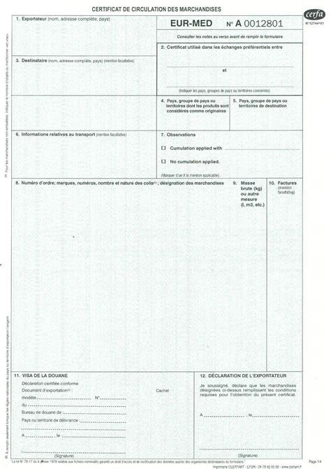 chambre de commerce certificat d origine gmj documents et formulaires douaniers