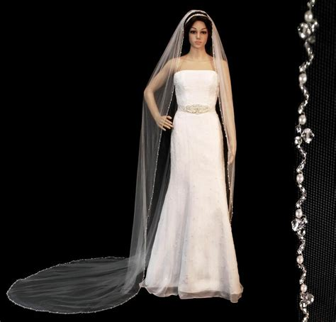 Crystal Pearl Beaded Edge Cathedral Bridal Wedding Veil