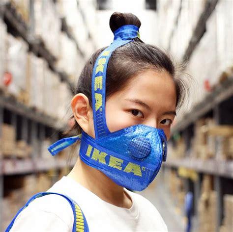 chinese kunstenaar maakt mondmaskers van ikea tassen