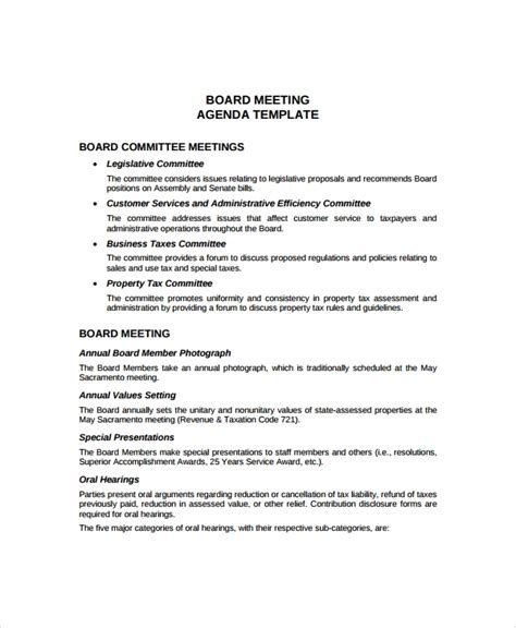 annual meeting agenda template   word