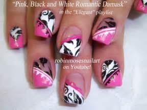 Nail art design damask pink black