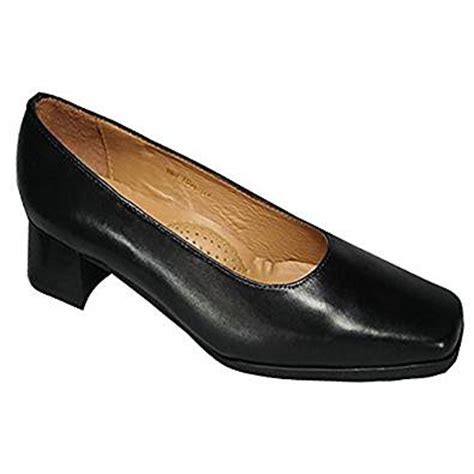 amblers womens walford x wide black leather e fit low heel court shoe co uk shoes bags