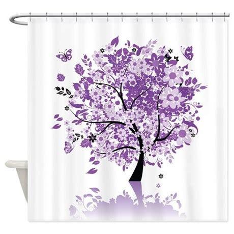 Purple Flower Shower Curtain by Purple Floral Tree Shower Curtain By Showercurtainshop