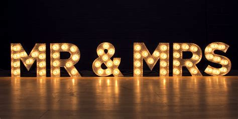 small light up letters mr and mrs light up letters