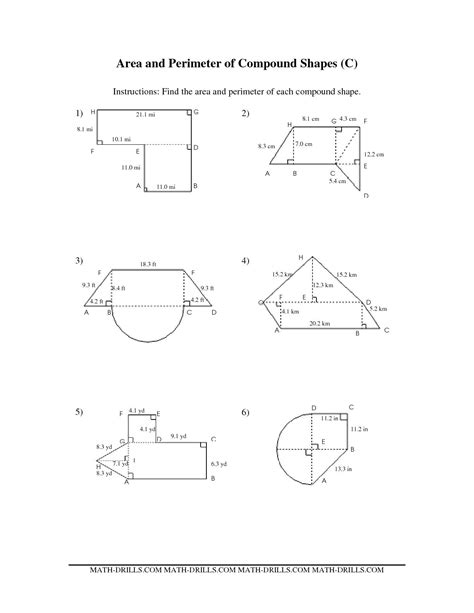 worksheet area of complex figures worksheet carlos lomas