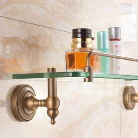 golden polished brass antique bathroom shelves
