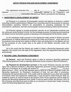 Producer artist development agreement musiccontractscom for Executive producer agreement template