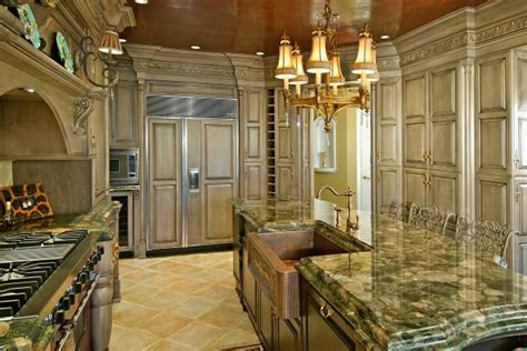 tuscan style kitchen  copper sink  metallic ceiling