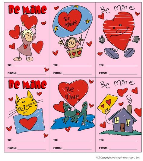 valentines day card kids printable cards