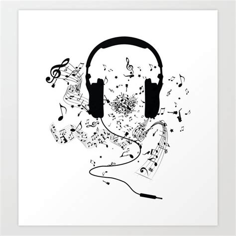 Headphones And Music Notes Art Print By Juyodesign Society6