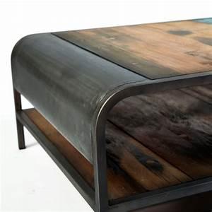 Table Basse Fer Et Bois : table basse double plateau vintage fer d poli et planches de bois de bateau recycl pas cher en ~ Teatrodelosmanantiales.com Idées de Décoration