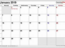 2019 Calendar Word – printable month calendar