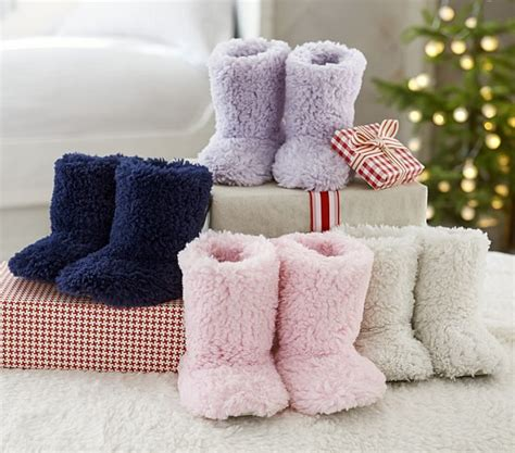 pottery barn slippers kid sherpa slippers pottery barn