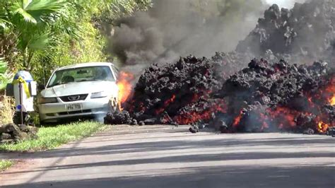 lava  kilauea engulfs car  hawaii video nytimescom