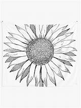 Coloring Pages Sunflower Tapestry Adults Detailed Flower Redbubble sketch template