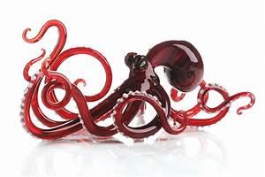 Octopus in Red by Jennifer Caldwell (Art Glass Sculpture