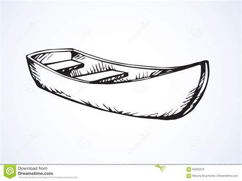 Skiff Boat Drawings by Wooden Boat Vector Drawing Stock Vector Illustration Of