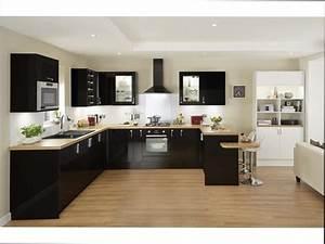 cuisine noir et bois cuisine bois noir 20 ides de With cuisine noire et bois