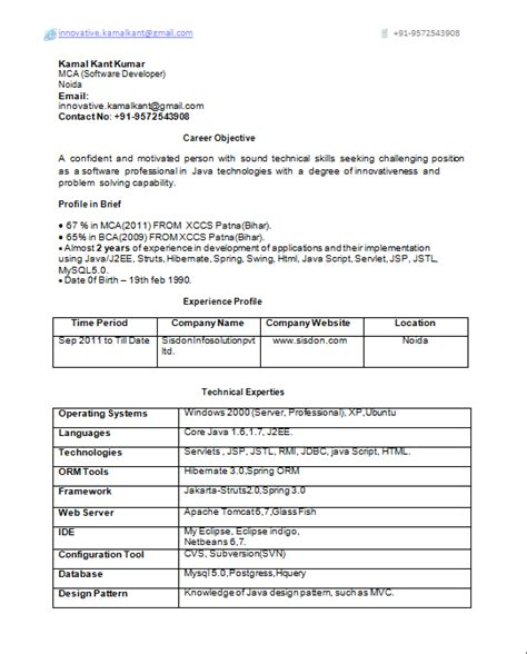 Experience Cv Format by For 4 Yrs Experience Ocs Resume Format Sle Resume