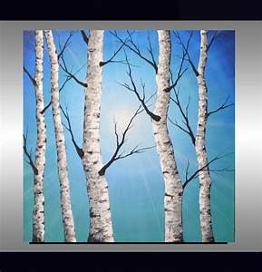White birch tree on soft blue landscape, trending interior