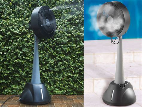 Portable Patio Misting Fans by Evaporative Misting Fan Requires No Hose Ohgizmo
