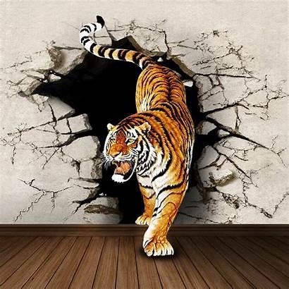 Tiger 3d Dimensional Three Wall Mural Bedroom
