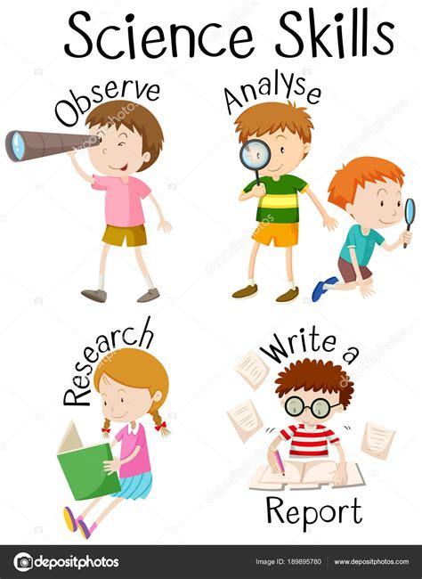 clipart per bambini bambini e competenze differenti di scienza vettoriali