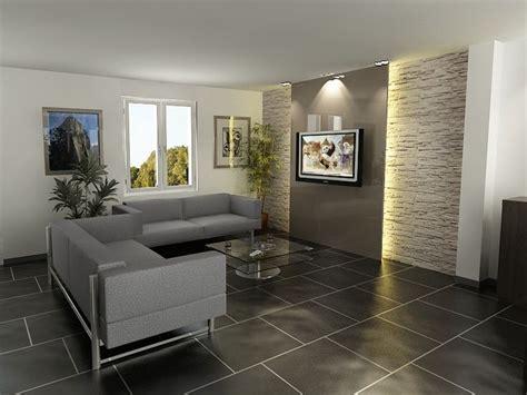 decoration salon mur en pierre salon en  mur en