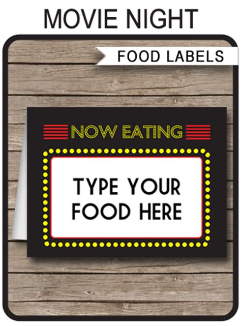 printable  party food labels place cards