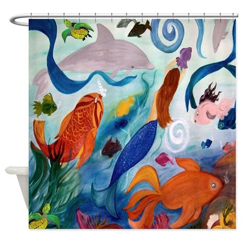 41223 mermaid shower curtain tropical fish and mermaid shower curtain by bythebeach
