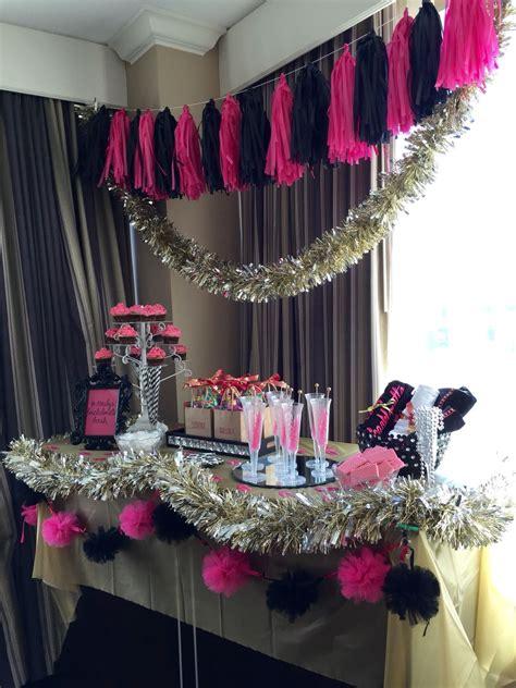 bachelorette party decor hot pink black  gold