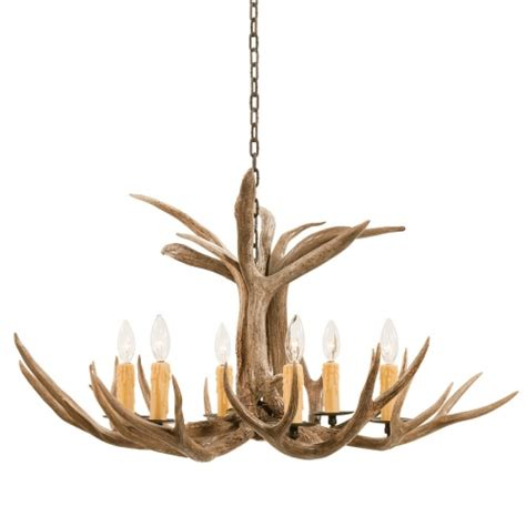6 light mule deer antler chandelier uvsis111