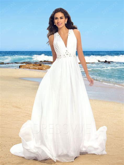 simple  neck beading court train beach wedding dress