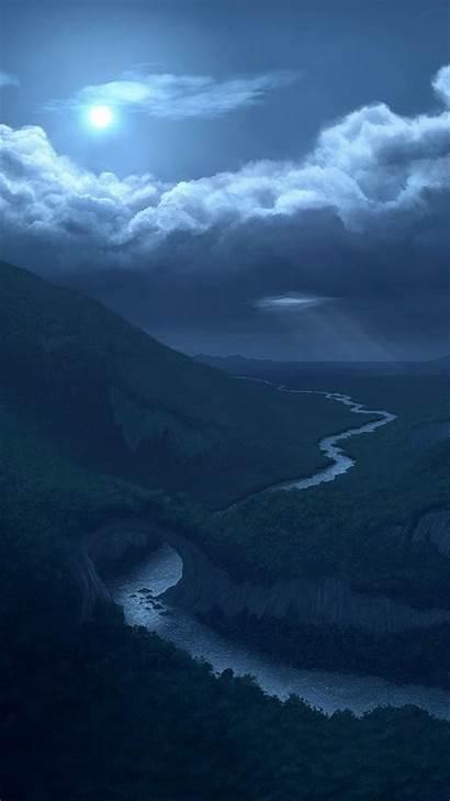 Moon Smartphone Clouds Wallpapers Mountains River Desktop