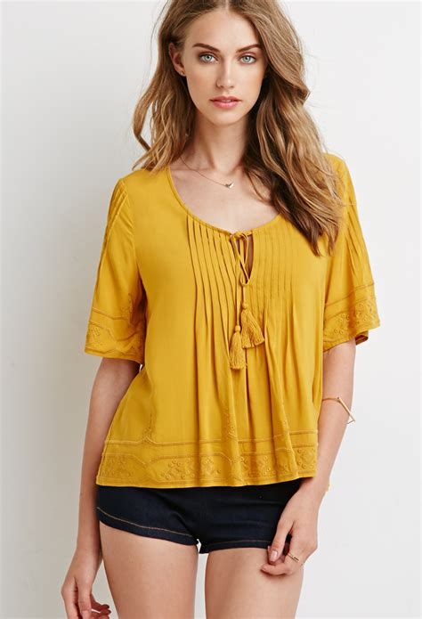 mustard blouse forever 21 embroidered pintucked blouse in yellow lyst
