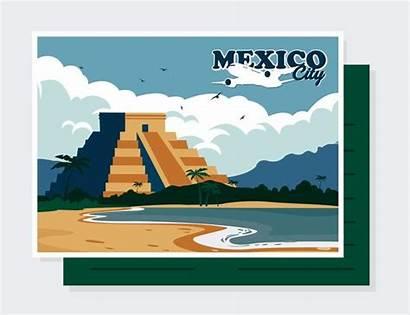 Mexico Postcard Clipart Mexiko Postkarte Vektor Bearbeiten