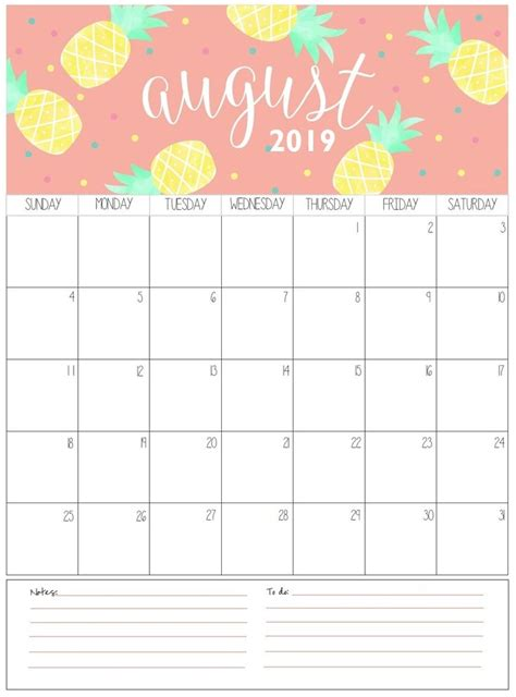 august monthly calendar  calendar  printable