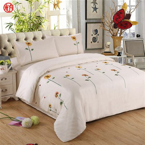 sunflower bedding set cotton embroidered duvet cover